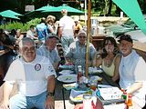 Seated outside Alices Restaurant with Martin B Rich Follen Bill Harr Joyce and Don Cortez